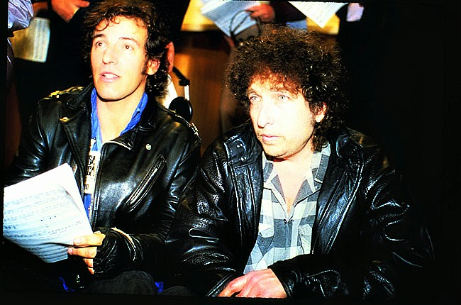 "Bruce Springsteen e Bob Dylan nas gravações do single ""We Are the World"""