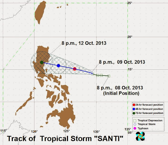 Bagyong Santi October 2013 typhoon track