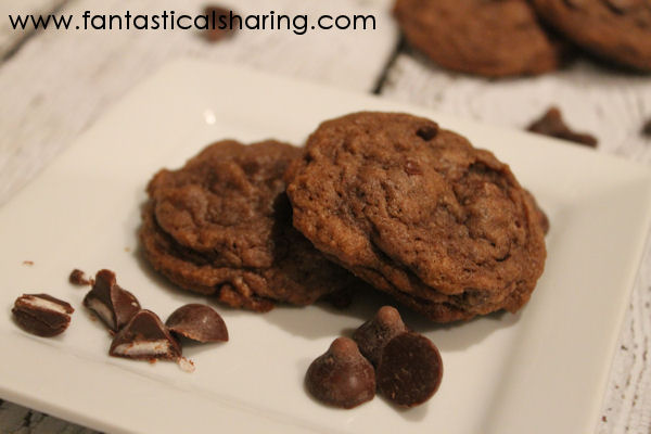 Dark Chocolate Cherry Pudding Cookies | Delicious cherry-filled dark chocolate morsels in this soft, chewy cookie #cookies #HandCraftedEdibles #chocolate #cherry