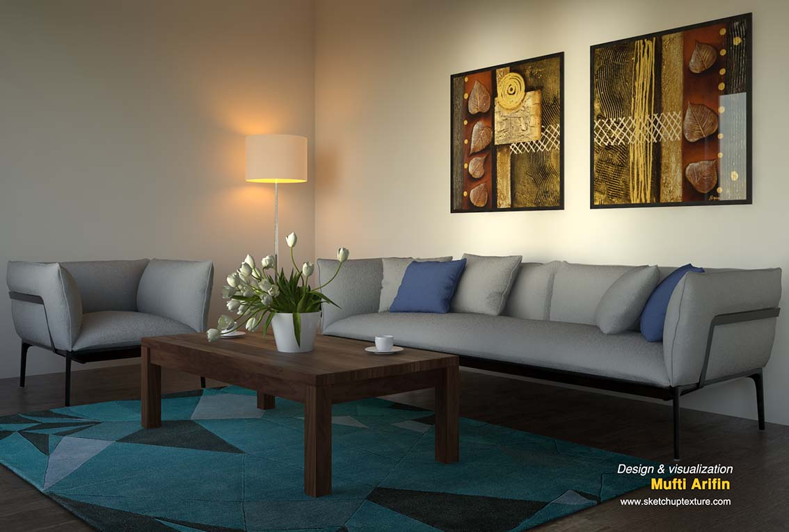 free sketchup model sofa #18 vray raw render by Mufti Arifin