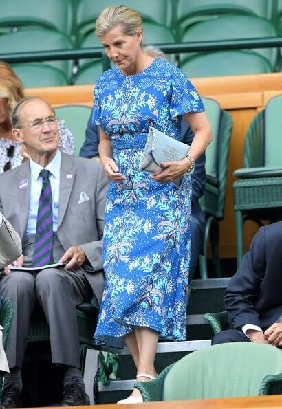 The Countess of Wessex wore a floral print dress by Peter Pilotto, and LK Bennett shoes, carries Sophie Habsburg clutch