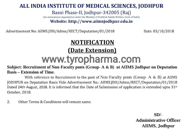 AIIMS Jodhpur Pharmacist Recruitment 2018 | Addendum