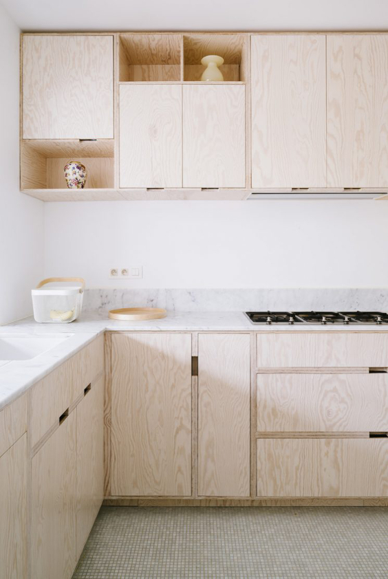 wooden minimal kitchen with no handles