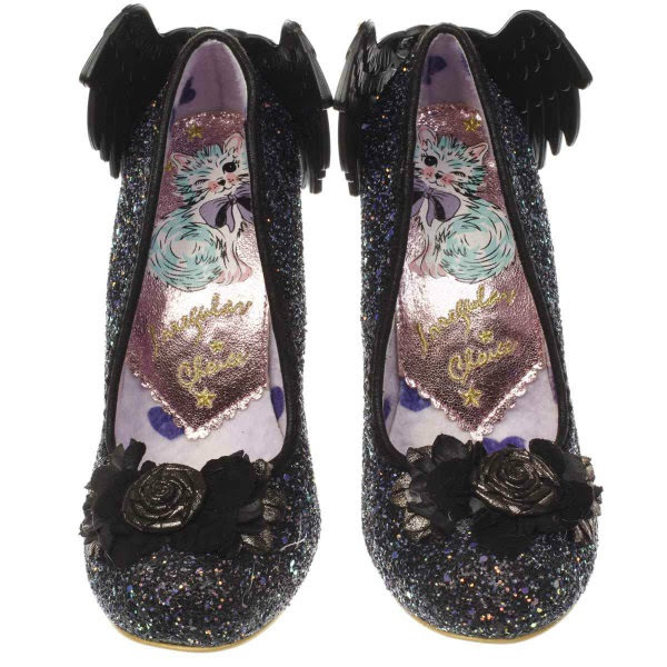 irregular choice lilac heart and metallic cat insole for aw17