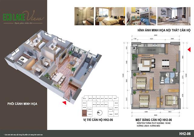 Căn hộ 06, diện tích 105m2 - 3 phòng ngủ