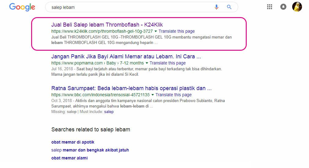 Hasil Pencarian Thromboflash di Google