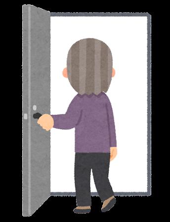 ドアへ入る人のイラスト(おばあさん)