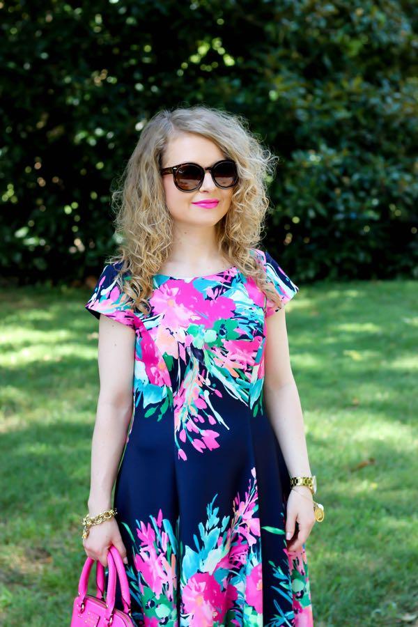 Eliza J. Floral Print Scuba Fit & Flare Dress, Nordstrom