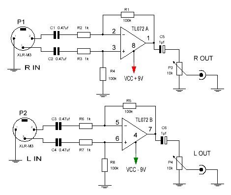 Conversor de audio balanceado esquema.
