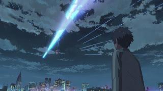 Kadr z anime Kimi no Na wa. Niebo ze spadającą gwiazdą