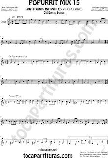 Partitura de Oboe Popurrí 15 La Tarara, De los 4 Muleros y Con el Vito Sheet Music for Oboe Music Score
