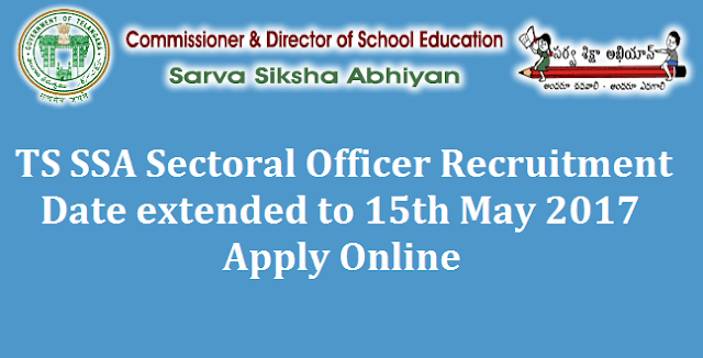 TS State, TS Jobs, SSA Jobs, Sarva Shikshs Abhiyan, Sectoral Officers recruitment, TS Notifications, TSSA