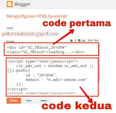 Memasang kode iklan