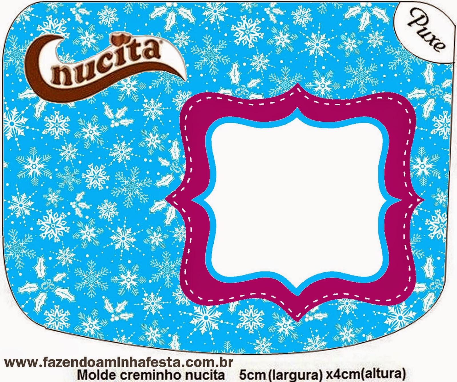 Etiqueta Nucita de Frozen en Morado y Celeste para Navidad para imprimir gratis.