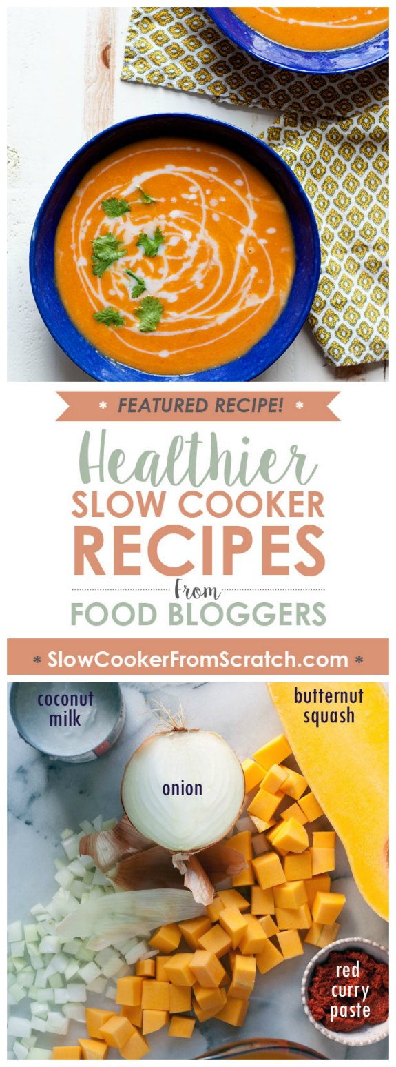 Slow Cooker 5-Ingredient Thai Butternut Squash Soup from Kitchen Treaty featured on SlowCookerFromScratch.com