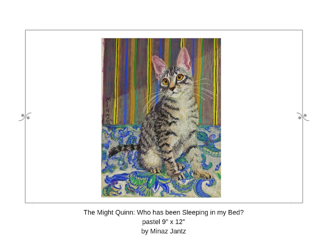 Quinn: Who Has Been Sleeping in My Bed? pet portrait by Minaz Jantz