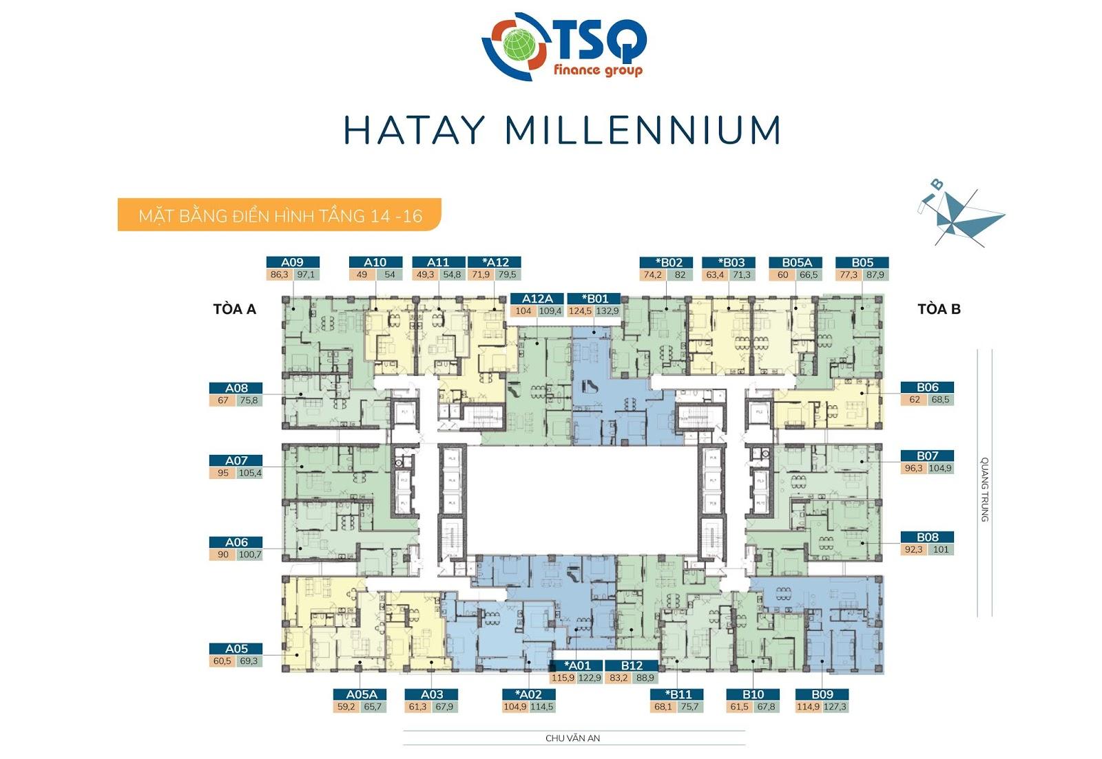 Mặt bằng thiết kế Hatay Millennium tầng 14-16