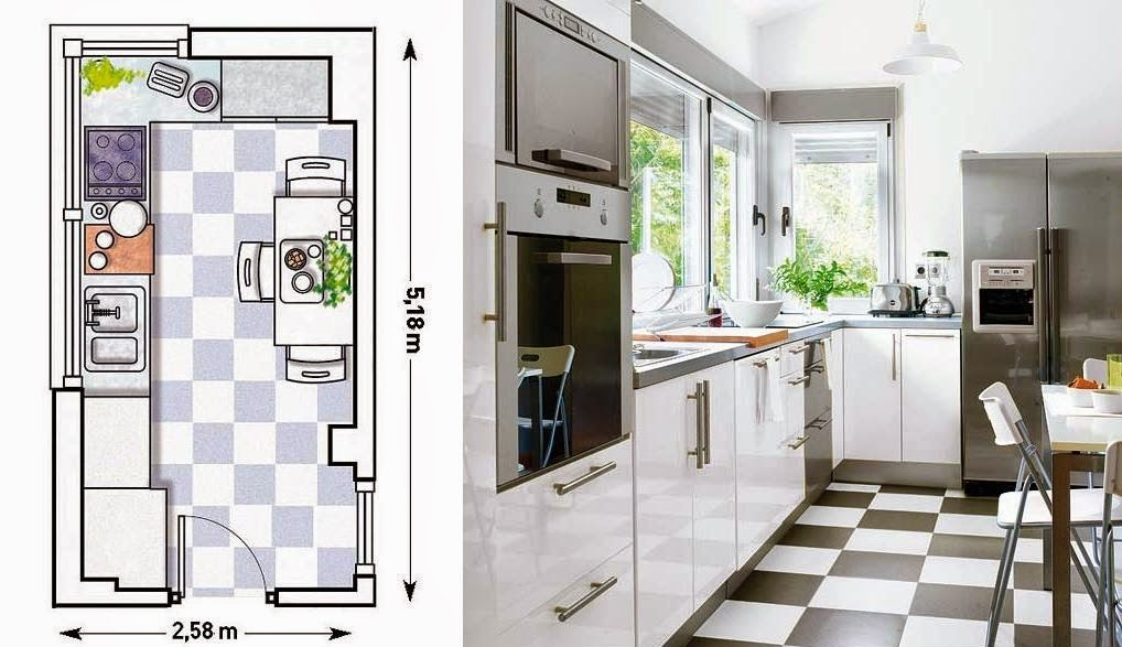 Decotips distribuir la cocina seg n su geometr a for Distribucion cocina alargada