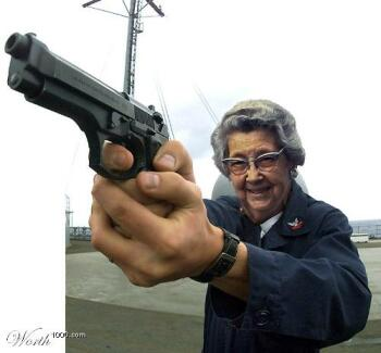 Granny With Gun 74