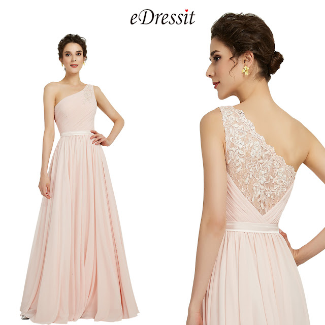 Elegant One Shoulder Pink Party Bridesmaid Dress