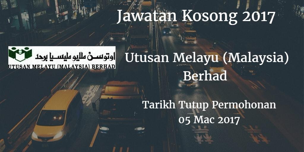 Jawatan Kosong Utusan Melayu (Malaysia) Berhad 05 Mac 2017