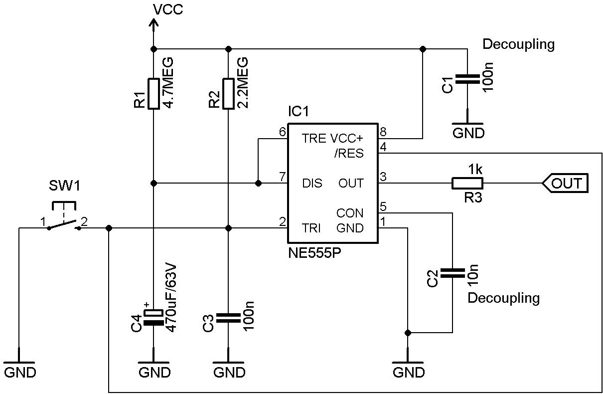 Electronics For Bharat Retriggerable 555 Timing Circuit An Power Flip Flop Using A Triac Diagram Blog Final Version Of Re Trigger Able With Minimum Components