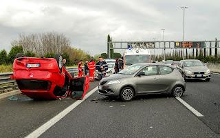 two vehicle car crash on motor way