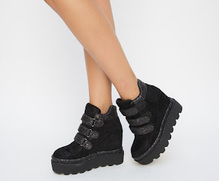 Pantofi Sport Desty Negri cu platforma si talpa groasa