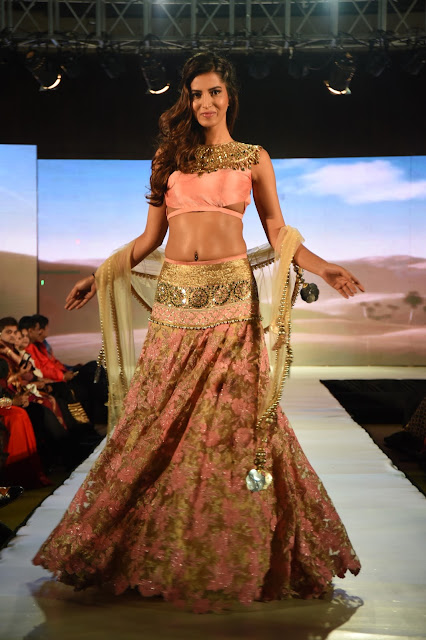 Manasvi Mamgai Pink and Gold Bridal Lehenga at Charmi Shah Fashion Event 2016