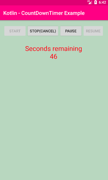android kotlin - CountDownTimer start stop pause resume example