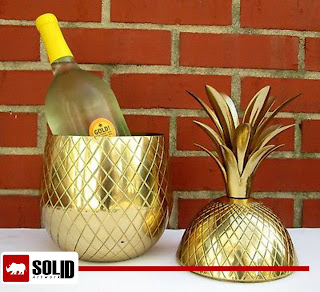 retro brass pineapple ice bucket