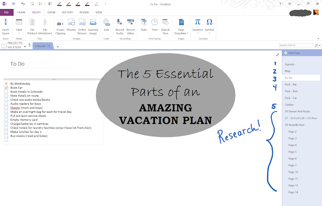 productivity, planning, vacation, vacation plan, Microsoft OneNote, planner