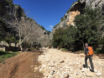 Cava d'Ispica - Trying to make our way up the washed out ravine.