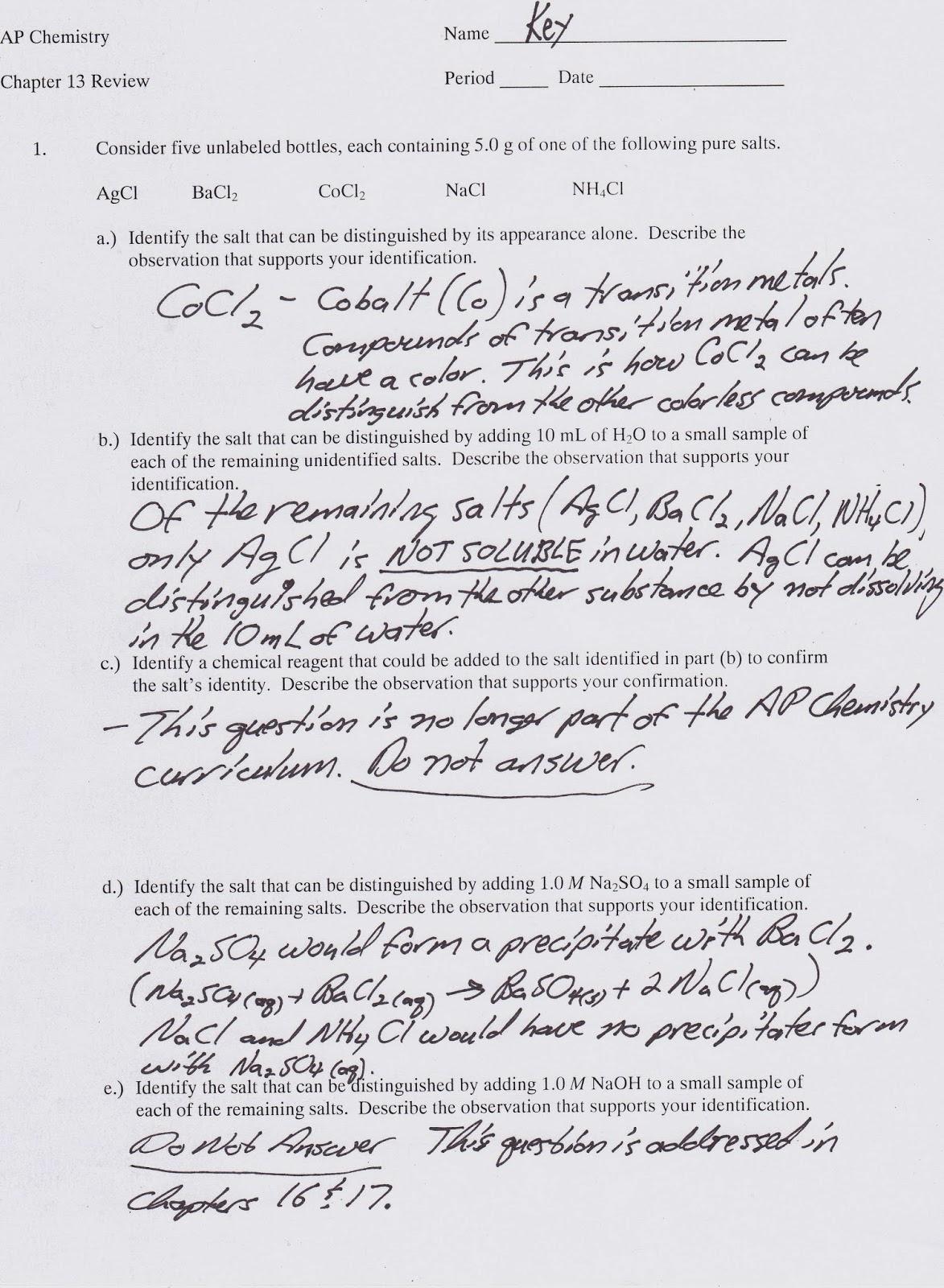 Mr Brueckner S Ap Chemistry Blog 17 Beer S Law Solubility Assessment Review