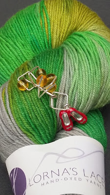 Ruby Slipper stitch markers and Lorna's Lace yarn from Jimmy Bean's Wool