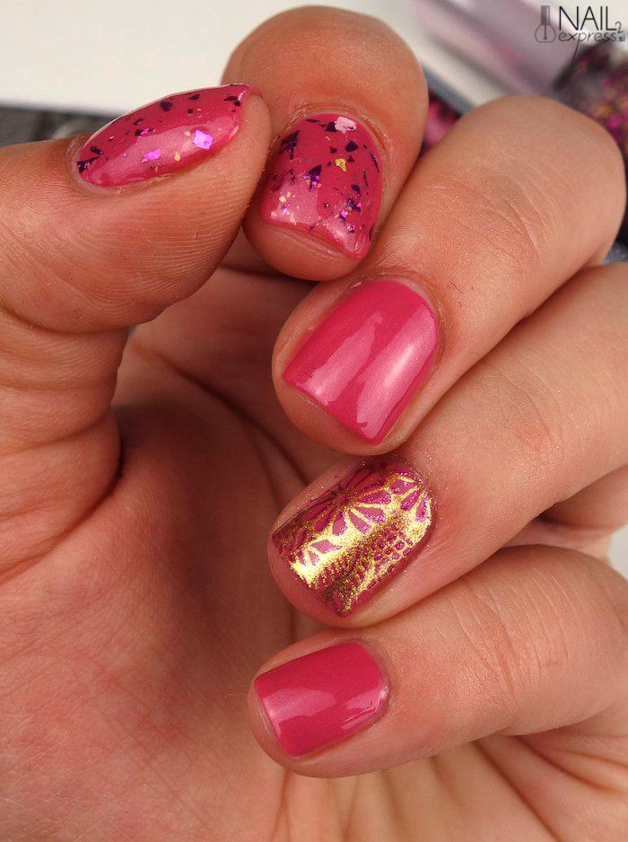 Roza-zlata skittlette manikira
