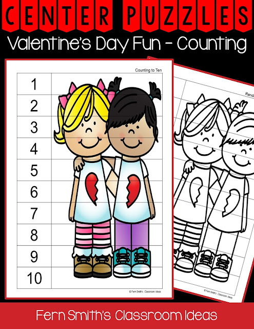 Fern Smith's Classroom Ideas Freebie Friday ~ FREE St. Valentine's Day Fun With Friends Counting Center Puzzles!