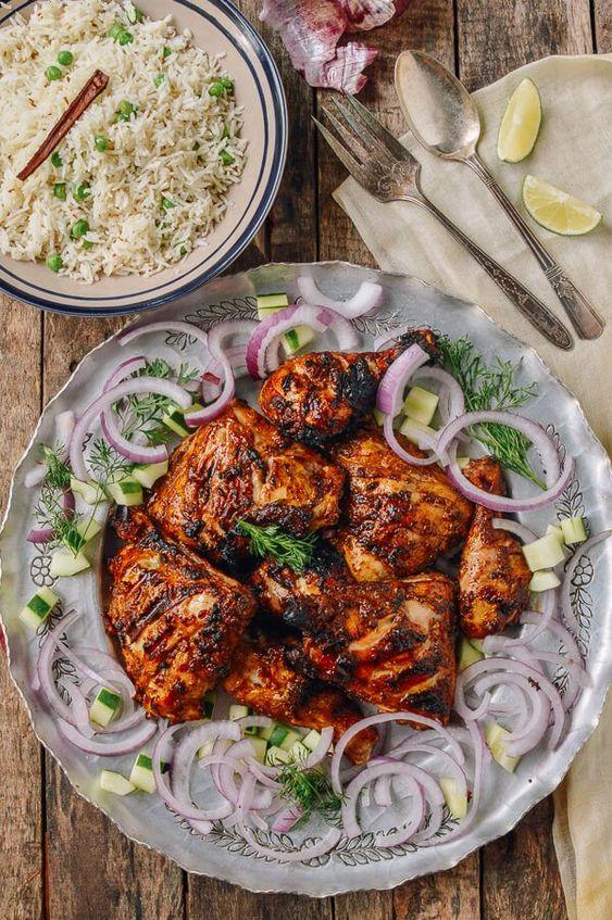 Grilled Tandoori Chicken with Rice