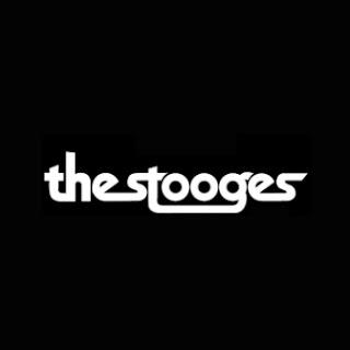 El logo de los Stooges. Fondo negro y letras blancas con el texto: The Stooges
