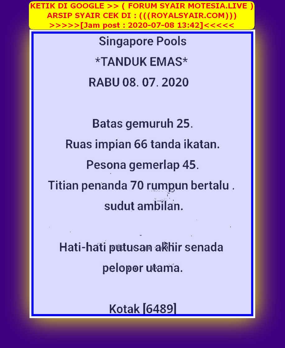 Kode syair Singapore Rabu 8 Juli 2020 26
