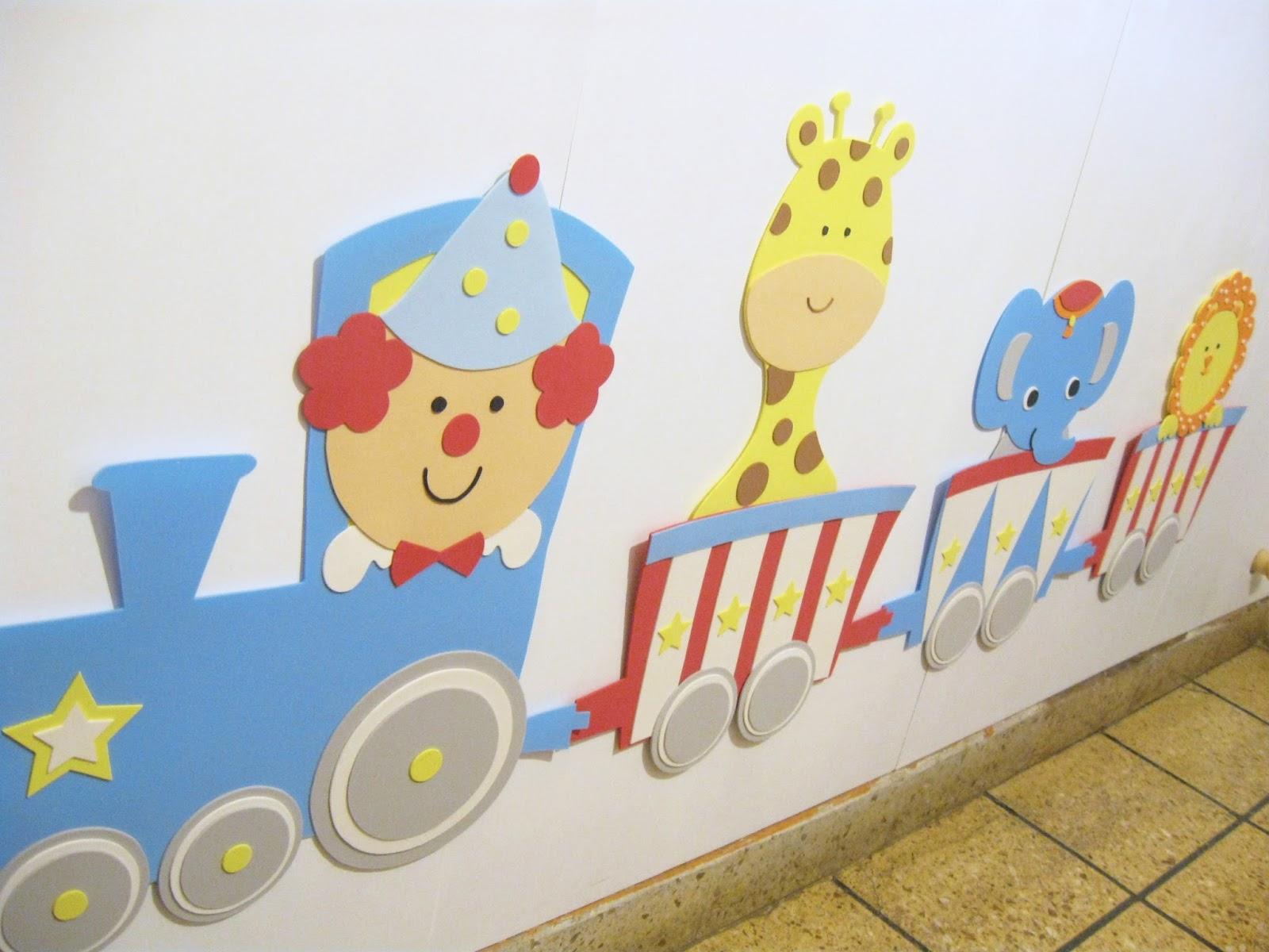 Accesorios infantiles con dise o decoracion tema circo - Decorar paredes infantiles con goma eva ...