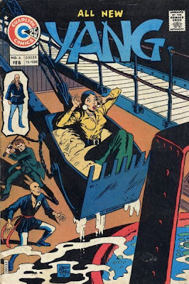 Yang #6, Charlton Comics, Yang looks on like a berk as a woman sits in a scoop and a man sneaks up on him, ready to hit him from behind