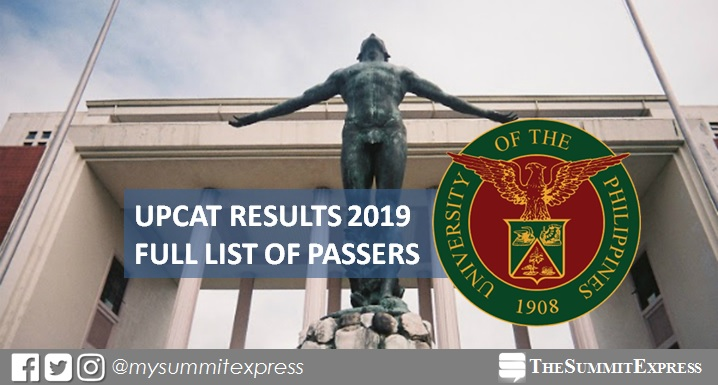 LIST OF PASSERS: UPCAT Results 2019 release online