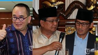 Ruhut Sitompul, Prabowo Subianto dan Sandiaga Uno - Foto/kolase/Tribunjateng