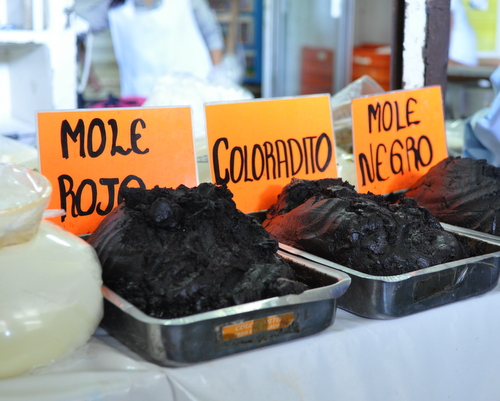 Fresh moles in Oaxaca, Mexico, inspiration for Deep Mexico, ingredient-driven Mexican meal prep ♥ KitchenParade.com.