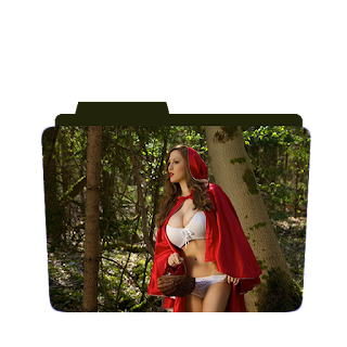 Preview of girl, red riding hood, photoshoot pose, folder icon
