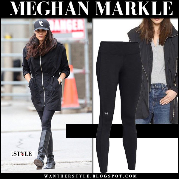 Meghan Markle in black zip soia & kyo coat, black under armour leggings and black knee boots street style what she wore