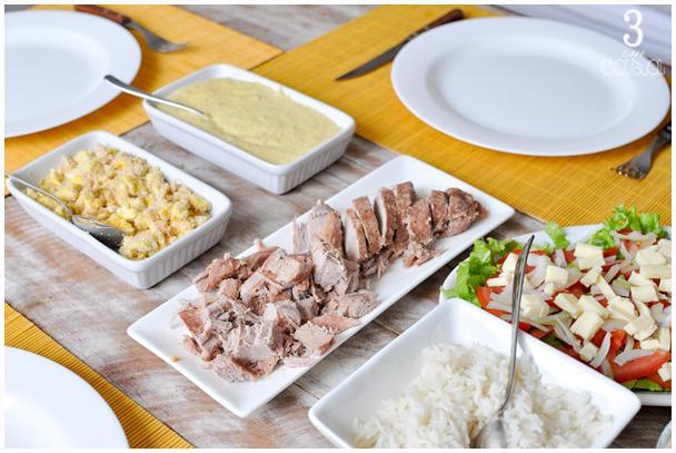 almoço de domingo simples mesa