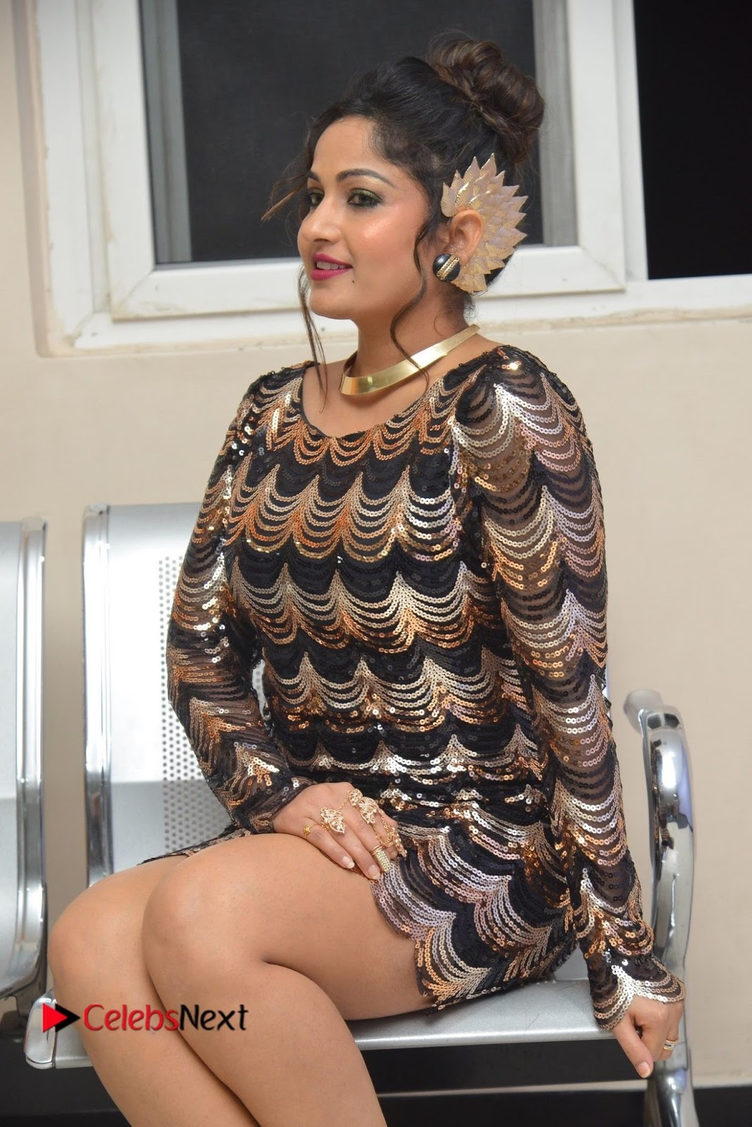 Actress Madhavi Latha  Pictures in Short Dress at On Mona Birthday Premiere  0045.JPG