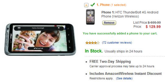 HTC Thunderbolt for $130 on contract